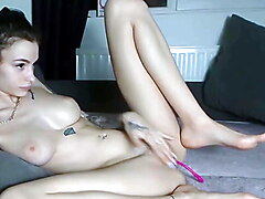 Tattooed French Babe Fingering Herself On Cam