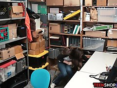 teen thief tag teamed by security guards in the back office