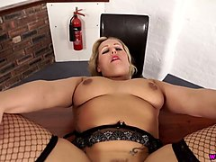 blond bbw teacher ashley rider sucks a dick and gets her boobs jizzed