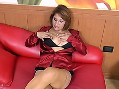 busty latin milf masturbating with toys