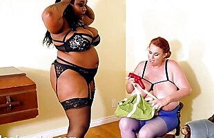 Busty Black Mistress and her white busty slave