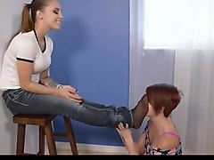 Mistress has her feet smelled and licked