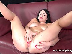 pretty brunette tanika is fucking herself with a huge dildo