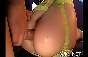 Chick is giving wet blow job to several different peckers