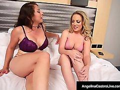 Angelina Castro StrapOn Fucks Carmen Valentina &amp_ Gia Love!