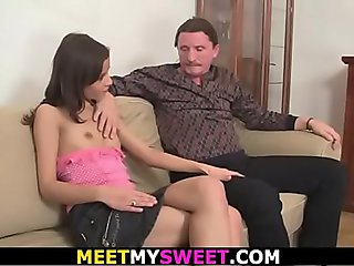 Petite mini-tits girl gets her pussy licked by old dad