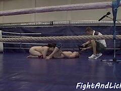 wrestling lesbian riding strapon dildo
