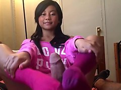 cute asian girl footjob in pink socks