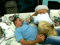 sexy and lascivious blonde slut undresses and facesits white dude