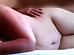 Chubby wife fucks from behind and her boobies bounce
