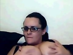 Webcamfun milf with glasses flashes tits
