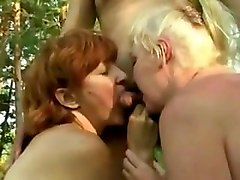 amateur - mature group outdoor romp - flies incl