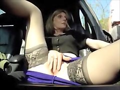 Moving milf in nylons enjoys warm cumshots