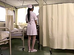 Two japanese nurses suck cock and swap cum.