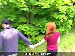petite redhead fucked in the forest  - let's fuck outside
