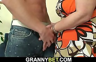 60 years old woman pleases a stranger