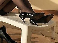 nylons, latex, black, footing, heels