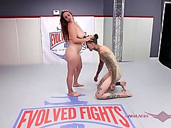Ruckus and Bella Rossi both use lots of leggy holds to pin each other in this winner fucks loser naked wrestling match