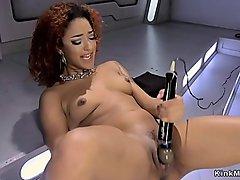 Curly ebony bangs huge dildo machine