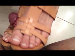 shoejob in wedges - french pedicure (no sound)