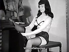 raven haired beauty gets dressed (1950s vintage)