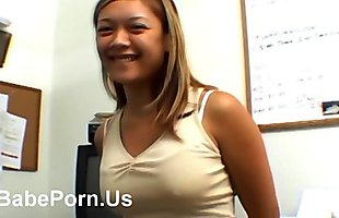 Asian blowjob her boss