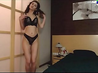 Cute Curly Brunette Amateur College Girl Dancing Naked and Masturbating on Webcam
