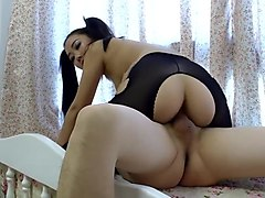 japanese - hot pigtail babe rides to creampie