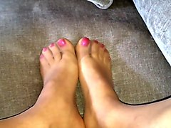 Nylon Feet Reinforced Toes Polished Nails Cum On Feet