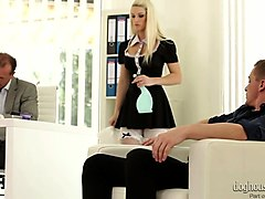 gorgeous maid blanche bradburry gets sandwiched after a good blowjob