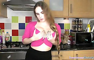Naughty Katie Lou shows off her downblouse beauty compilation