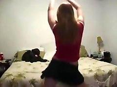 short skirt dance in thong