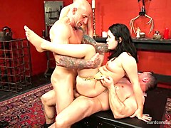 two sex-hungry dudes fuck one perverted brunette hottie yhivi