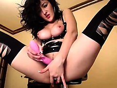 Bodacious brunette milf in stockings masturbates on webcam