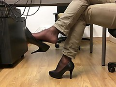 dangling heels at the office