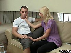 blonde teen swallows hard angry cock