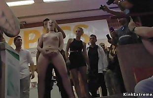 Sex expo public fuck of brunette