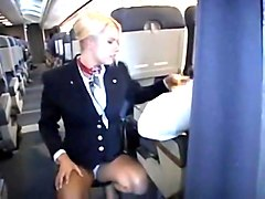 stewardess, public, handjob, blond, public nudity