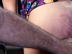 already bruised butt taking cane strokes