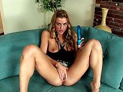 Leggy Blonde Mia Presley Using Dildo