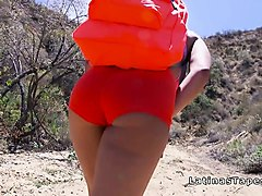 big booty latina hiker bangs outdoor