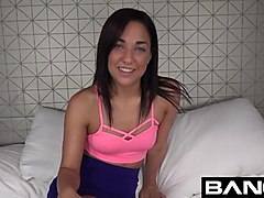 bang real teen: amara romani is shy until surrounded by cock