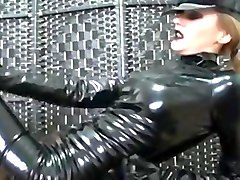 Pvc catsuit hottie shows off her pvc catsuit and gloves