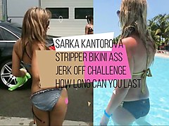 sarah kantorova sripper jerk to her tight bikini ass