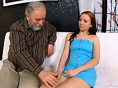 young sweetie enjoys rear fuck with old man