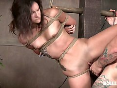 tied up hooker eden sin gets her face and pussy banged