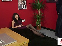 stockinged british voyeur instructing jerkjob