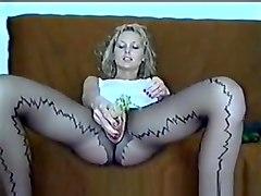 Crotchless Pantyhose Wife Masturbate