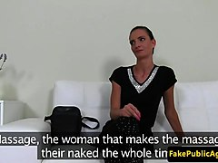 lingeried casting babe wanks agent cock