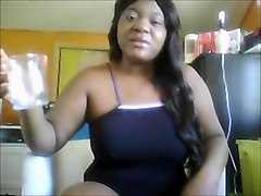 Busty Beauty Ebony Pissing